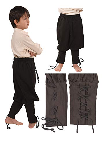 byCalvina - Calvina Costumes Wickyhose Medieval Viking LARP Pirate Children's Pants Trousers - Made in Turkey, Black, 104