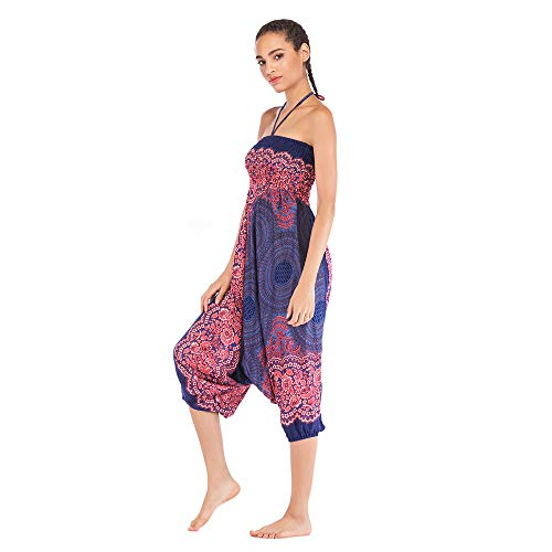 Harem Pants Women's Hippie Bohemian Yoga Pants One Size Aladdin Harem Hippie Pants Jumpsuit Smocked Waist 2 in 1 (Free, Blue) by BingYELH Yoga (Image #3)