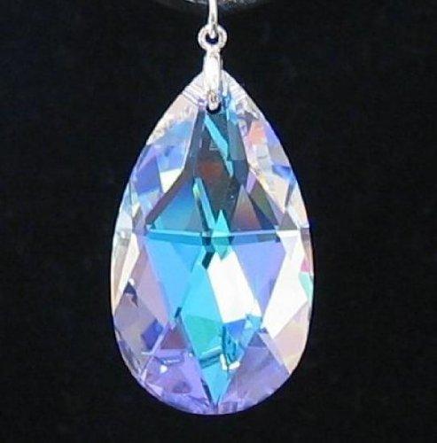 1 pc Swarovski Crystal 8721 Large Teardrop Briolette Pendant Clear AB 38mm / Findings / Crystallized ()