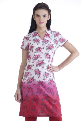 MB Womens Ethnic Rose Printed Gradation Kurta Tunic WHITE/PINK 36
