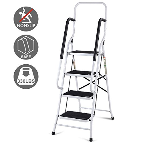 Safety 4 Step Ladder - Giantex 2 In 1 Non-slip 4 Step Ladder Folding Four Step Ladder with Handrails with 330lbs Capacity
