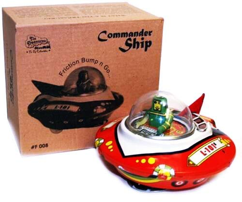 Flying Saucer Tin Toy Wind up UFO Space Ship Commander Bump and Go Action - Sale for Ages 15+ from India