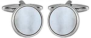 Round Mother of Pearl Rhodium Cufflinks. A Great pair of cufflinks/Tie Clip or Othet Accessory? The perfect Gift for some one special.