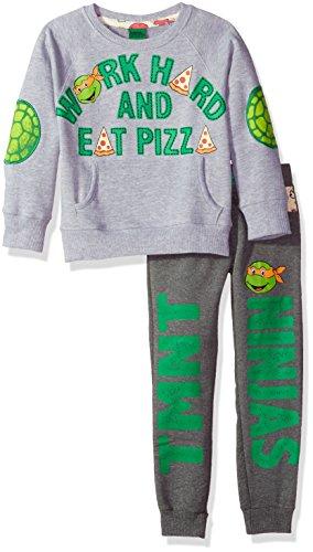 Nickelodeon Toddler Boys TMNT Work Hard and Eat Pizza Jogger Set, Grey, (Toddler Ninja Turtles Costumes)