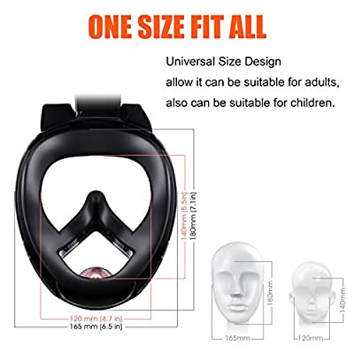 Yobenki Snorkel Mask, 180 Gegree Panoramic Full Face Knorkeling Mask Easy to Breathe Anti-Fog Anti-Leak Diving Masks with Action Camera Mount Detachable Suitable for Adults or Kids