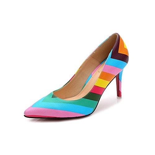 Doris Fashion Ts889-94 Womens Zebrato Rainbow Pumps Scarpe Con I Tacchi A Spillo Multicolore