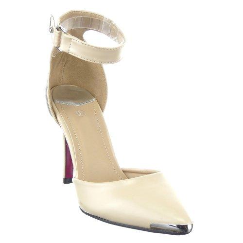 Sopily - Chaussure Mode Escarpin Decolleté Stiletto Cheville femmes Métallique Talon aiguille haut talon 10 CM - Beige