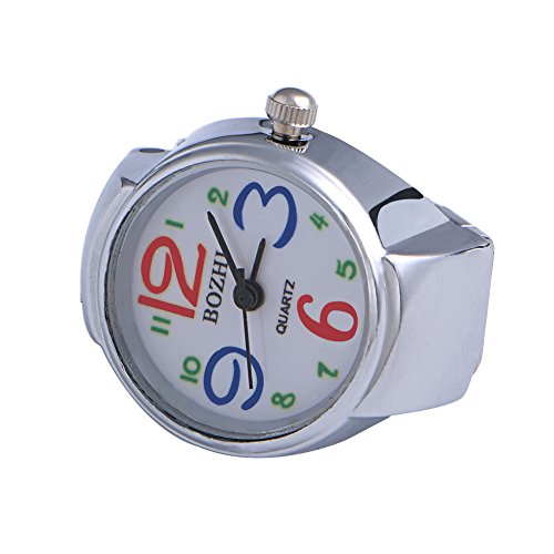 Kangnice Movement Quartz Finger Ring Watch Dial Round Arabic Stainless ()