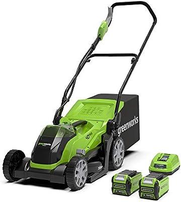 Greenworks Tools G40LM35K2X Cortacésped con batería (Li-Ion 40V 35 cm ancho, hasta 500m² 2en1 mantillo y siega, 40 l caja recolección, 5x veces ajuste altura corte, con 2 baterías 2Ah y cargador):