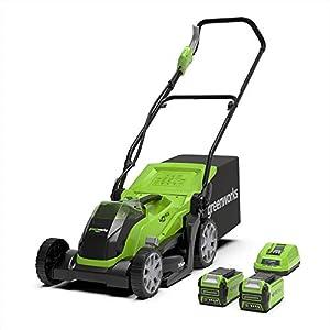 Greenworks Tondeuse à batterie G40LM35K2X (Li-Ion 40V 35cm largeur coupe jusqu'à 500m² 2en1 paillage et tonte corbeille…