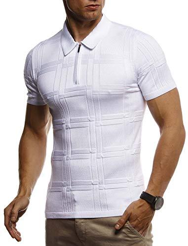 Leif Nelson Herren Sommer T-Shirt Polo Kragen Poloshirt Slim Fit aus Feinstrick Cooles weißes schwarzes Basic Männer Polo-Shirts Jungen Kurzarmshirt Kurzarm Sleeve Shirt Top LN7325