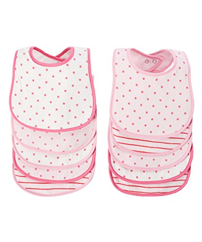 BornCare Baby Girl's 3 Layers Waterproof Baby Bib Set with Snaps AOP Colors, Pink, Medium, 10 (10 Pack Terry Bibs)