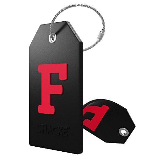identificador de valija mochila acero inoxidable letra F