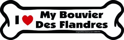 Imagine This Bone Car Magnet, I Love My Bouvier Des Flandres, 2-Inch by 7-Inch