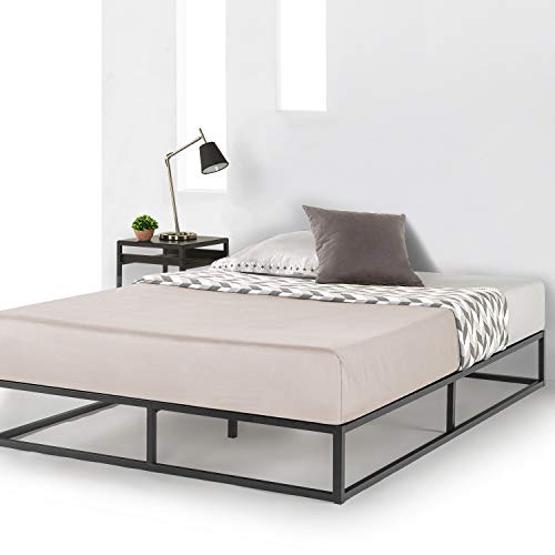 Mellow Full 10 inch Metal Platform Bed Frame Type w/Classic Wooden Slat Support Mattress Foundation (No Box Spring Needed), 10