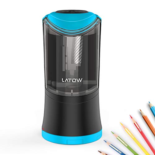 Electric Pencil Sharpener with Durable Helical Blade to Fast Sharpen, LATOW...