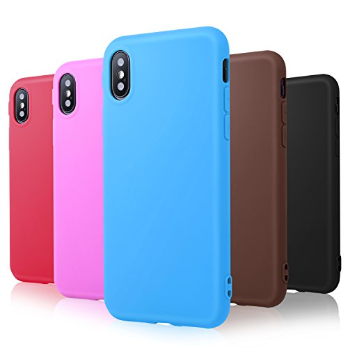 Pofesun Phone Case Compatible with iPhone Xs/iPhone X Cases Silicone, 5 Pack Ultra Thin Slim Fit Soft Silicone TPU Cover Case Compatible with 5.8 inch iPhone X/iPhone Xs - Black,Blue,Rose,Red,Brown