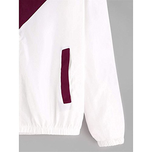 Donne Cappotto Sweatshirt Gli Blocking Con L'ananas Giacche Coat Giacche Cerniera Outwear Felpa Rosso Blocco Color Sport bianco Colore Tasche Jackets Vino Cappuccio rq6rFxCw