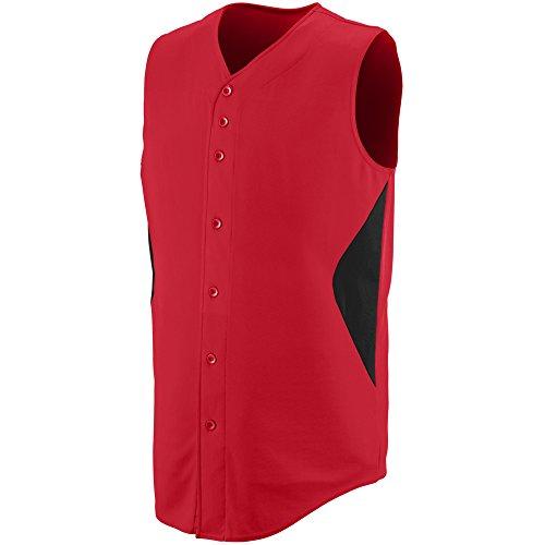 Augusta Sportswear BOYS' SLEEVELESS WHEEL HOUSE BASEBALL JERSEY M Red/Black ()