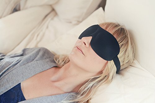 Luxury Patented Sleep Mask, Nidra® Deep Rest Eye Mask with Contoured Shape and Adjustable Head Strap, Sleep Satisfaction Guaranteed, Sleep Anywhere, Anytime