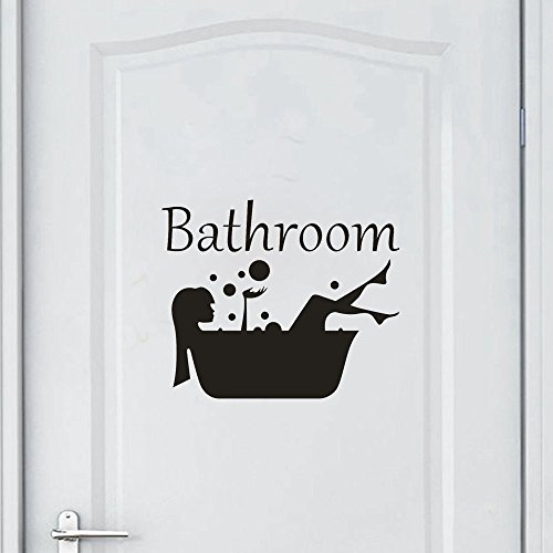 Youmymine Art Wall Sticker 3D Brick Bathroom Removable Art Vinyl Mural Home Room Decor (Black)