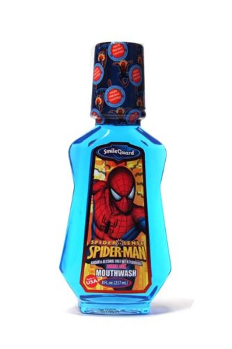 (Spider-Man Fluoride Mouthwash, Bubble Gum Flavor, Sugar-free, Alcohol-free, 8 Fl Oz by Smile Guard)