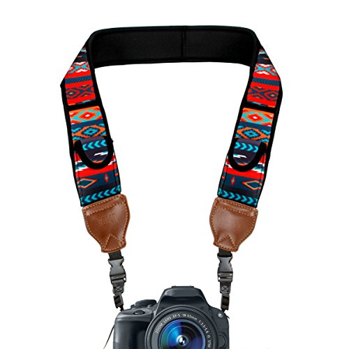 TrueSHOT Camera Strap with Southwest Neoprene Design , Accessory Pockets and Quick Release Buckles by USA Gear - Works With Canon , Fujifilm , Nikon , Sony and More DSLR , Mirrorless , Instant Cameras