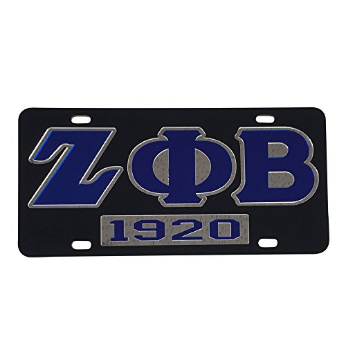 (Zeta Phi Beta Car Tag 7304 Acrylic Laser Cut Mirror Decorative For Front Back of Car)