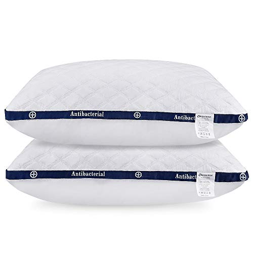 HOMEIDEAS 100% Cotton Hotel Down-Alternative Pillows, Plush Gel Fiber Bed Pillows for Sleeping - Good for Side and Back Sleeper (Pack of 2, Queen Size)