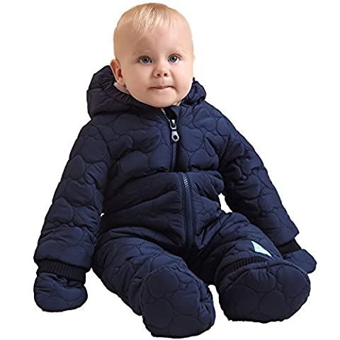 Oceankids Baby Boys Navy Blue Infant Overall Down Quilted Jumpsuit with Mink Lining 9-12 (Frontale Jeans Aderenti)
