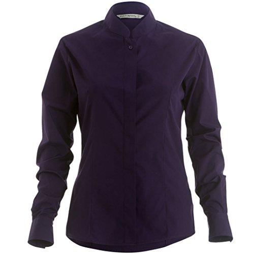 Kustom Kit- Camisa de manga larga entallada con cuello mandarín para mujer Frambuesa