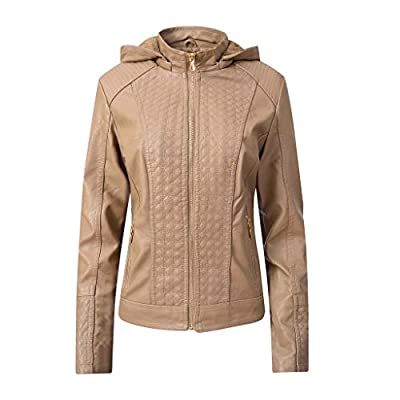 SFE Women Leather Jacket with Hood Winter Plush Lined Thickened Warm Soft Overcoat Outwear with Zipper Pocket: Clothing