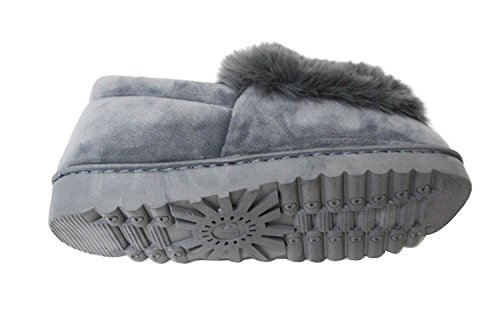 Womens Faux Sued Fur Lined Moccasion Indoor-Outdoor Slip On Mule Flexible Slipper Warm Bootie Shoes Grey/Susy-01 PCfqu409
