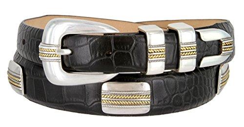 Mens Golden Rope Genuine Italian Calfskin Leather Designer Dress Golf Belt