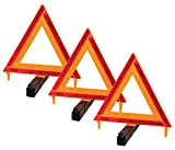 Performance Tool W1498 Large Early Warning Roadside Emergency Reflective Triangle, 3 Pack Case (Dot Approved), 3 Pack