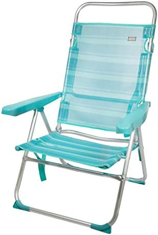 Aktive 53964 Silla multiposición aluminio Beach, 50 x 64 x 100 cm, Mediterráneo