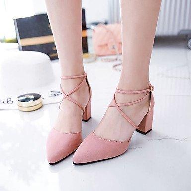AIURBAG Mujer-Tacón Robusto-Confort Gladiador Zapatos del club-Tacones-Vestido Fiesta y Noche-Ante-Negro Gris Rosa