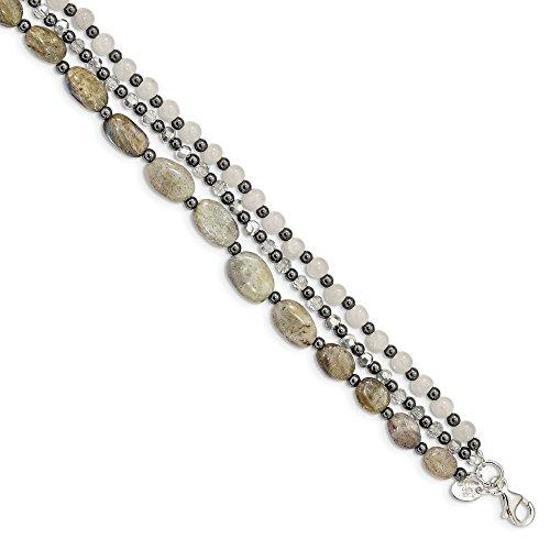 Sterling Silver Crystal Hematite White Jade Labradorite 3-strand With 1inch Ext. Bracelet - 7 Inch (Gold Jade Bangles White)