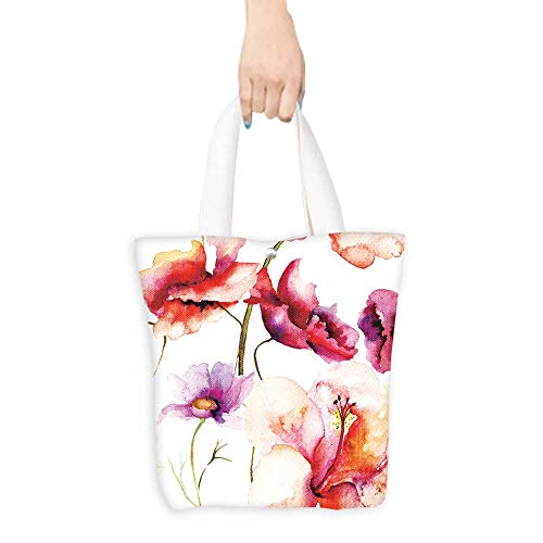 (Reusable Shopping Bag Seamless wallpaper with spring flowers Watercolor painting (W15.75 x L17.71)