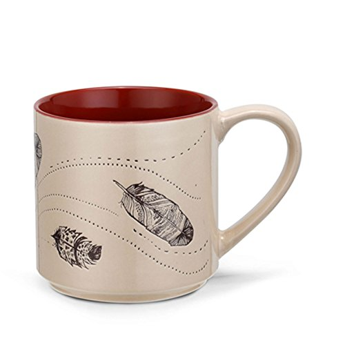 Meridian Line 4 Elements 16 Ounce Stoneware Coffee Mug: Wind (Feather)