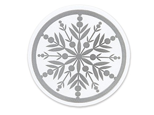 Bundleofbeauty Item#7754r - 50pack Christmas White and Silver Snowflake Sticker Seal