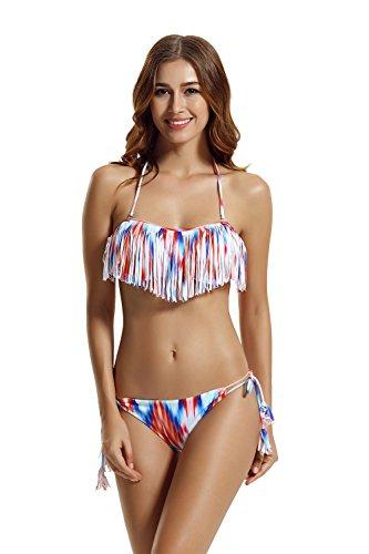 zeraca Women's Tie side Panites Fringe Bandeau Bikini Swimsuit (M10, Chevron)