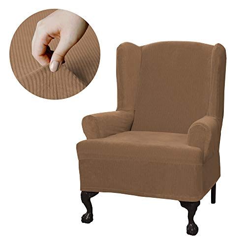 Wing Stripes Slipcover - Maytex Collin Stretch 1-Piece Wing Chair Furniture Cover / Slipcover, Gold