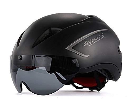 EyeGlow Elegante Casco de Bicicleta de Carretera para Adultos con Visera Protector Goggle Lente Ajustable Casco de Bicicleta...