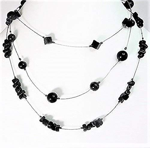 2477d6856f5 Amazon.com  Triple-strand Necklace beaded with Black Onyx and ...