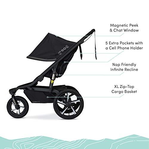 41nZGAE ejL - BOB Gear Alterrain Pro Jogging Stroller | One-Hand Quick Fold - Smoothshox + Airfilled Tires, Black