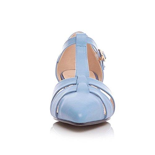 Nine Seven Cuero Puntiagudos Sandalias de Vestir de Tacón Bajo con Correa en T para Mujer azul claro