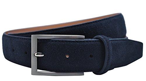 (Ground Mind Men's Suede Leather Belt (46, Navy Blue))