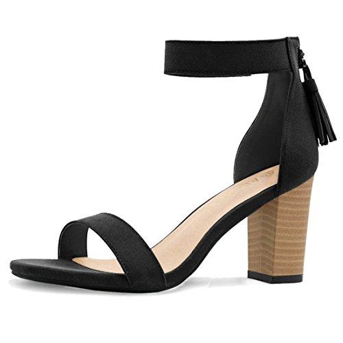 Allegra K Women's Tassel Stacked Heel Ankle Strap Sandals (Size US 10) Black