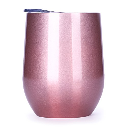 12 oz Insulated Stemless Glass,Stemless Wine Glass,Wine Tumbler, Exclusive for Home, Office,Perfect for Wine,Coffee, Drinks,Champagne,Cocktails by MASCOTKING (Image #1)